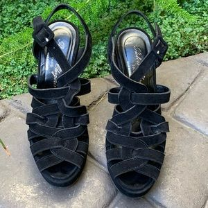 ROBERT CLERGERIE Black Suede Platform Sandals EUC